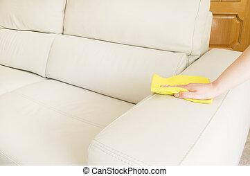 divano, pulizia, beige