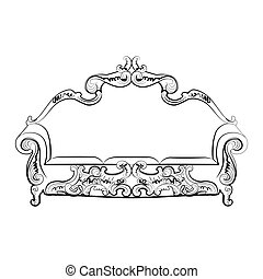 divano, reale, ornamenti
