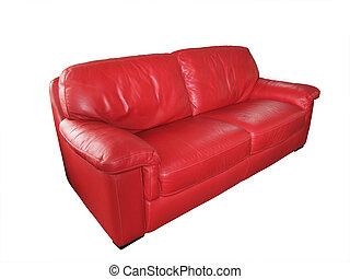 divano, rosso, cuoio