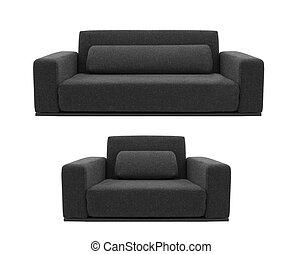 divano, sedia, bianco, nero, isolato