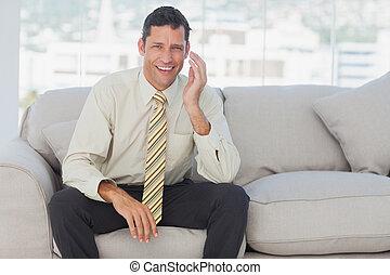 divano, seduta, uomo affari