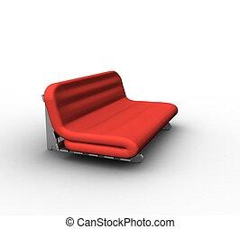 divano, sfondo bianco, 3d
