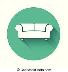 divano, shadow., isolato, lungo, button., vettore, verde, illustrazione, cerchio, bianco, icona