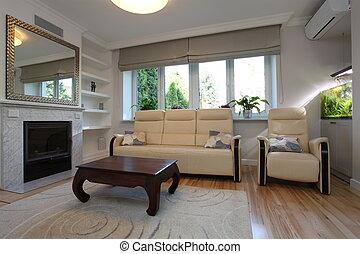 divano, stanza, poltrona, vivente