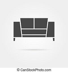 divano, uggia, nero, icona