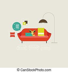 divano, vettore, icone