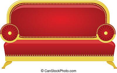 divano, vettore, rosso, illustrazione