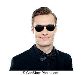 divatba jövő, fiatal, hím, formál, fárasztó, védőszemüveg