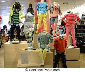 divatba jövő, kényelmes, gyerekek, öltözet