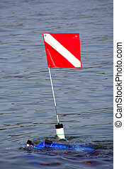 Dive Flag and Diver - A dive flag being moved into position...