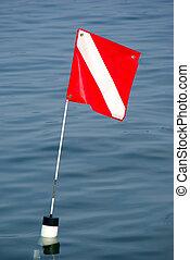 Dive Flag - A dive flag marking the location of scuba divers...