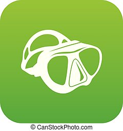 Dive mask icon green vector