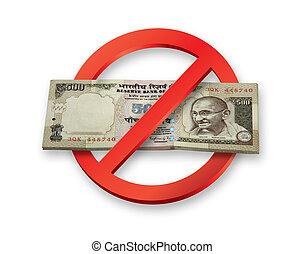 diventa, note, invalido, valuta, indiano, rupees,...