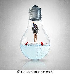diver., 女性実業家, イメージ, 概念