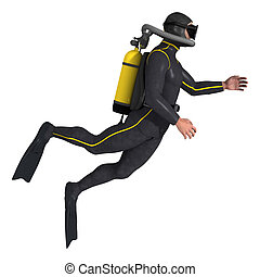 Diver - 3D digital render of a male diver isolated on white ...