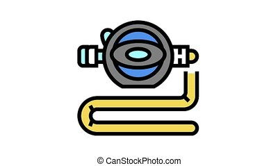 diver breath tool animated color icon. diver breath tool sign. isolated on white background