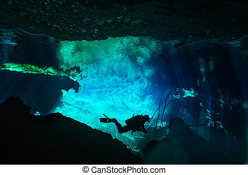 Silhouette of a scuba diver exploring the underwater world in blue water of Azul cenote