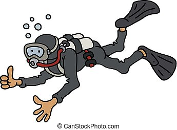 Diver in a black neoprene - Hand darwing of a funny diver in...