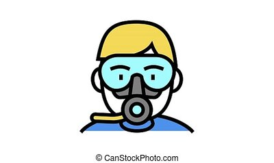 diver mask and breath tool animated color icon. diver mask and breath tool sign. isolated on white background