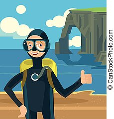 Diver on vacation character