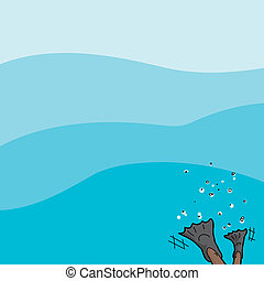 Diver on Water Background