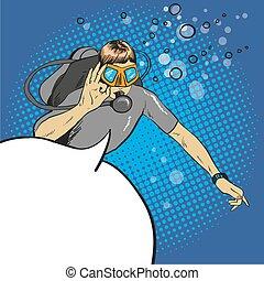 Diver pop art comic vector
