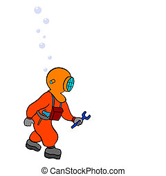 diver - repairer - vector - cartoon illustration of the deep...