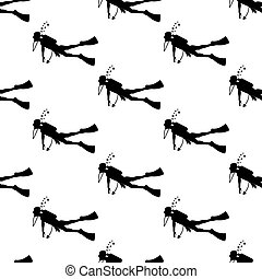 Diver silhouette seamless pattern