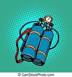 diver., submarino, tanque, oxígeno, natación