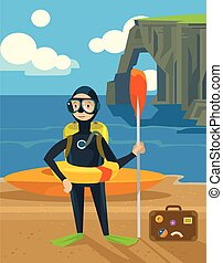 Diver. Vector flat illustration