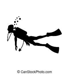 Diver vector silhouette