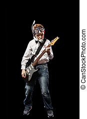 Diver with an electric guitar