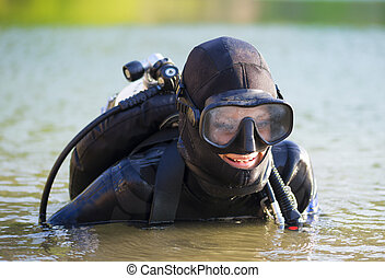 diver woman in the water