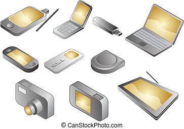 divers, électronique, illustration, gadgets