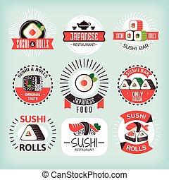 divers, étiquettes, ensemble, sushi