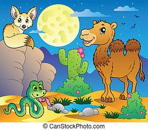 divers, 3, animaux, scène, désert