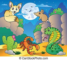 divers, 5, animaux, scène, désert