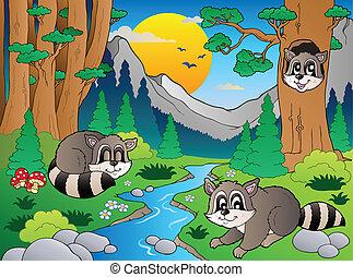 divers, 6, animaux, scène, forêt