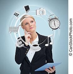 divers, applications, tablette, femme affaires, pc, considérer