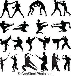 divers, arts martiaux, silhouettes