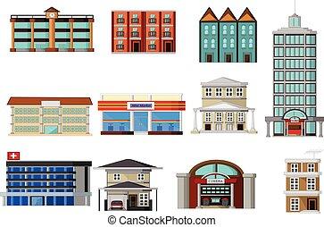 divers, bâtiments, dessin animé