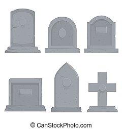 divers, collection, pierres tombales, vecteur, différent, illustration, graphique