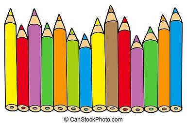 divers, couleurs, crayons