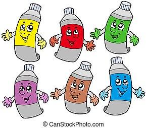 divers, couleurs, tubes