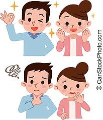 divers, couple, de, expression faciale