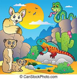 divers, désert, animaux, scène, 4