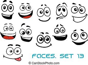 divers, dessin animé, émotions, faces