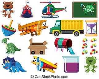 divers, dessin animé, ensemble, objets