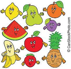 divers, dessin animé, fruits