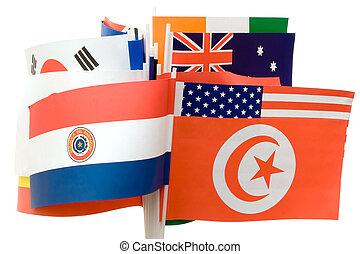 divers, drapeaux